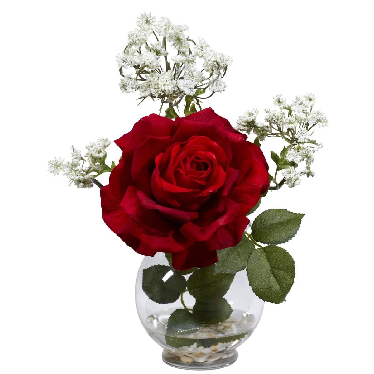 Rose Gypso W Fluted Vase Silk Flower Arrangement