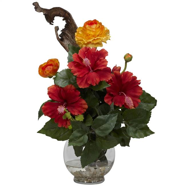 Hibiscus & Ranunculus w/Fluted Bowl Silk Flower Arrangement