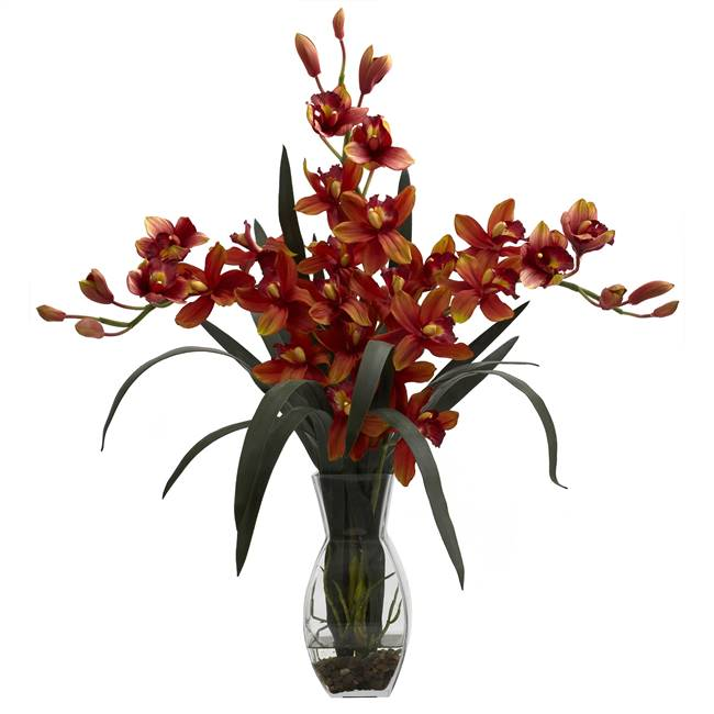 Triple Cymbidium w/Vase Arrangement