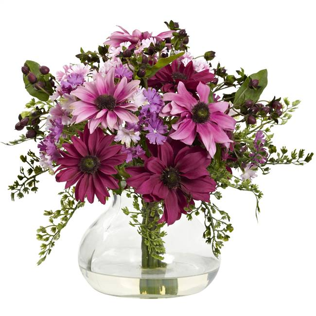 Mixed Daisy Arrangement w/Vase