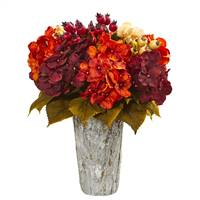 Autumn Hydrangea Berry Artificial Arrangement in Weather Planter