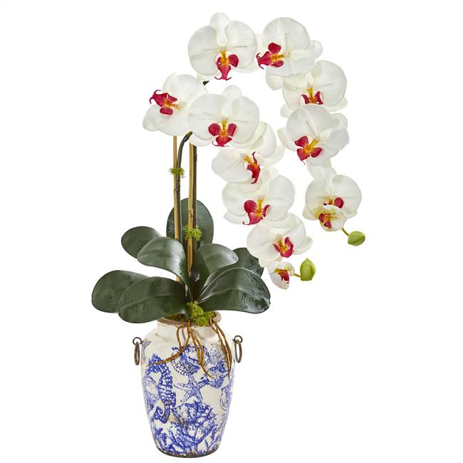 "31"" Phalaenopsis Orchid Artificial Arrangement in Weathered Ocean Vase"