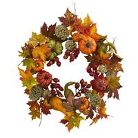 "24"" Pumpkin, Gourd, Berry and Maple Leaf Wreath"
