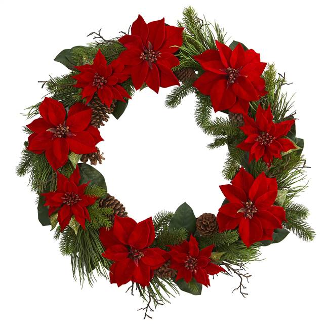 "36"" Poinsettia and Pine Wreath"