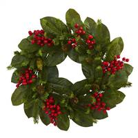 "24"" Magnolia Leaf, Berry and Pine Artificial Wreath"