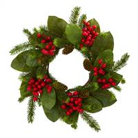 "19"" Magnolia Leaf, Berry and Pine Artificial Wreath"