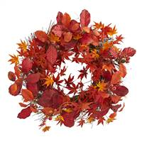 "22"" Japanese Maple, Magnolia Leaf and Berries Artificial Wreath"