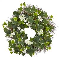 "20"" Variegated Sage Ivy and Stephanotis Artificial Wreath"