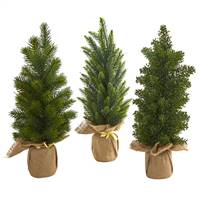 "15"" Mini Cypress and Pine Artificial Tree (Set of 3)"