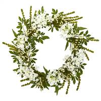 "24"" White Mixed Floral Artificial Wreath"
