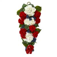 "26"" Geranium and Blue Berry Artificial Teardrop"