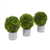 "9"" Boxwood Artificial Mini Topiary (Set of 3)"