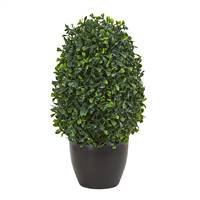 "13"" Boxwood Topiary Artificial Plant UV Resistant (Indoor/Outdoor)"