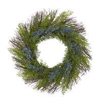 "21"" Cedar with Blue Berries Artificial Wreath"
