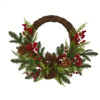 "22"" Mixed Pine and Cedar with Berries and Pine Cones Artificial Wreath"