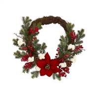 "19"" Poinsettia with Berries and Cotton Artificial Wreath"