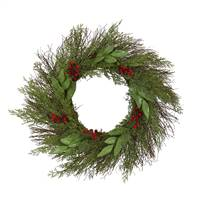 "20"" Cedar and Ruscus with Berries Artificial Wreath"