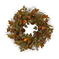 "23"" Mixed Fall Leaf, Pinecone and Acorn Artificial Wreath"