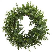 "18"" Eucalyptus Double Ring Wreath w/Twig Base"