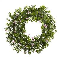 "18"" Mini Ivy & Floral Double Ring Wreath w/Twig Base"