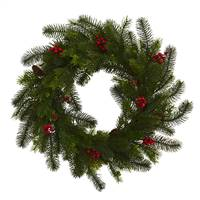 "24"" Pine and Berry Wreath"