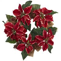 "22"" Poinsettia, Pine Cone & Burlap Wreath"