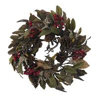 "24"" Pinecone, Berry & Feather Wreath"