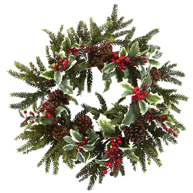 "22"" Holly Berry Wreath"