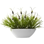 Grass & White Floral w/White Planter (Indoor/Outdoor)