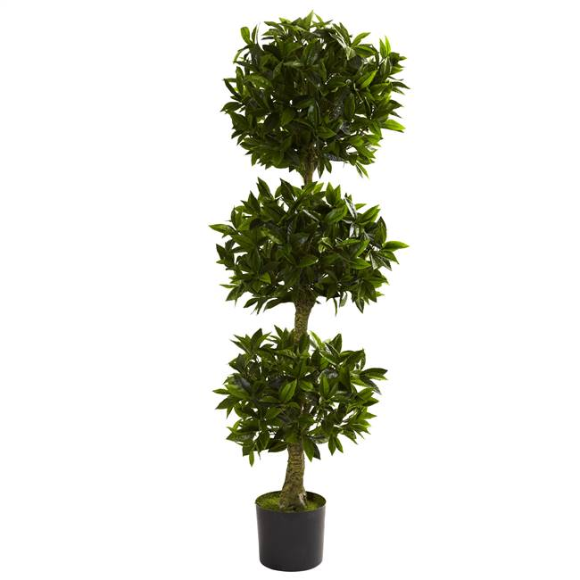 5' Triple Bay Leaf Topiary UV Resistant (Indoor/Outdoor)