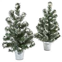 Snowy Pine Tree with Tin (Set of 2)