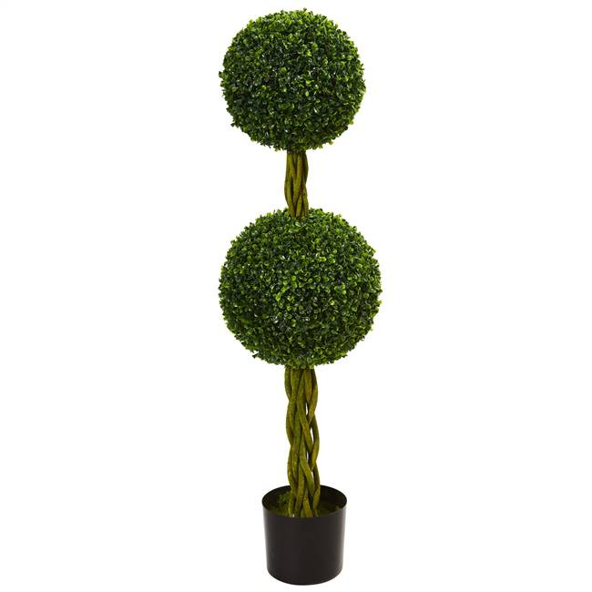 4' Boxwood Double Ball Artificial Topiary Tree with Woven Trunk UV Resistant (Indoor/Outdoor)