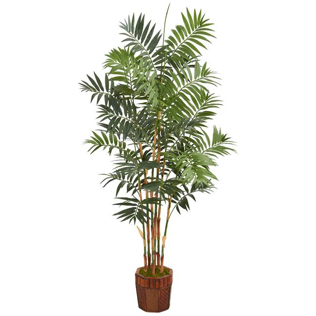 5.5' Bamboo Artificial Palm Tree in Decorative Wood Planter