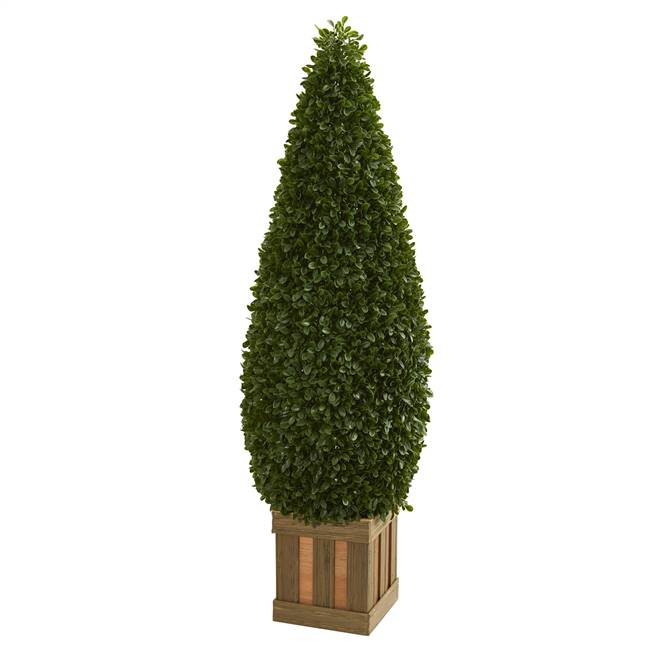 5' Boxwood Cone Topiary Artificial Tree with Decorative Planter