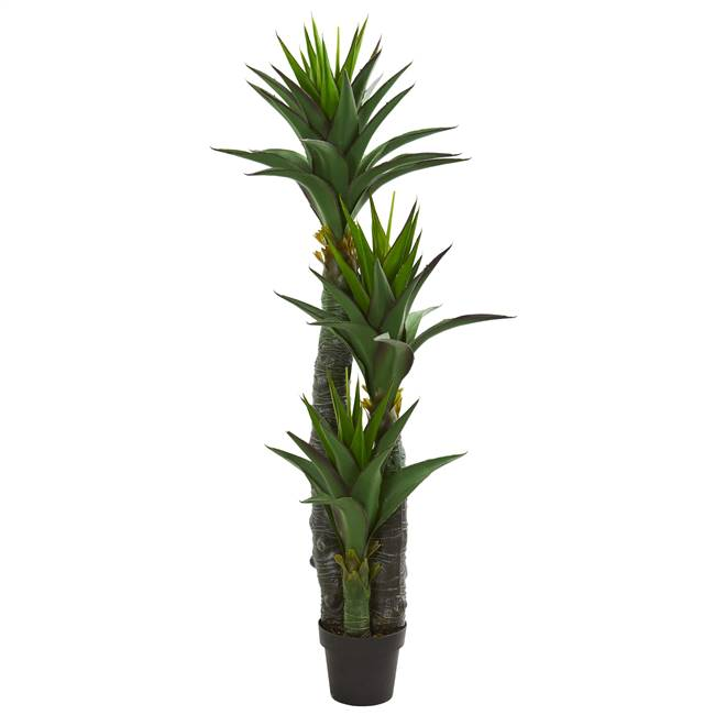 5' Decorative Yucca Artificial Tree in Black Planter