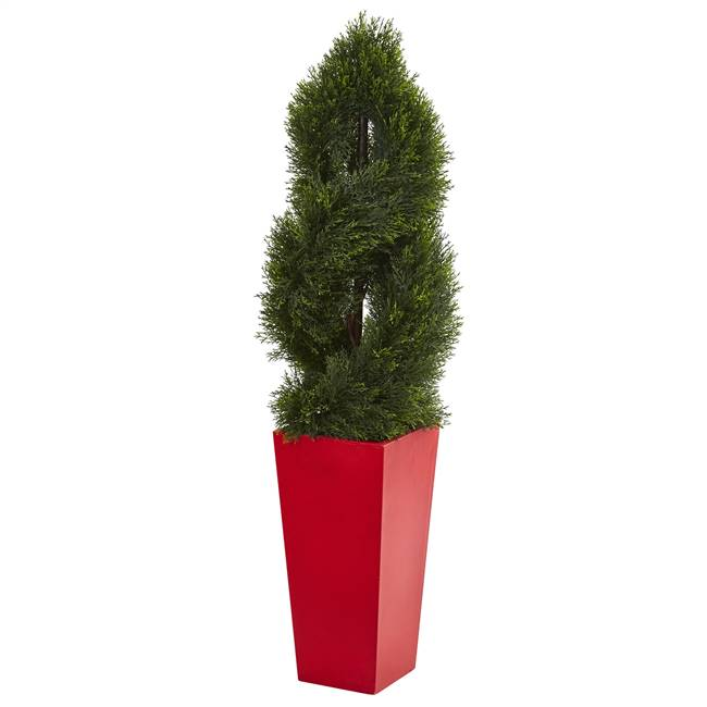 4.5' Double Pond Cypress Spiral Artificial Tree in Red Planter UV Resistant (Indoor/Outdoor)