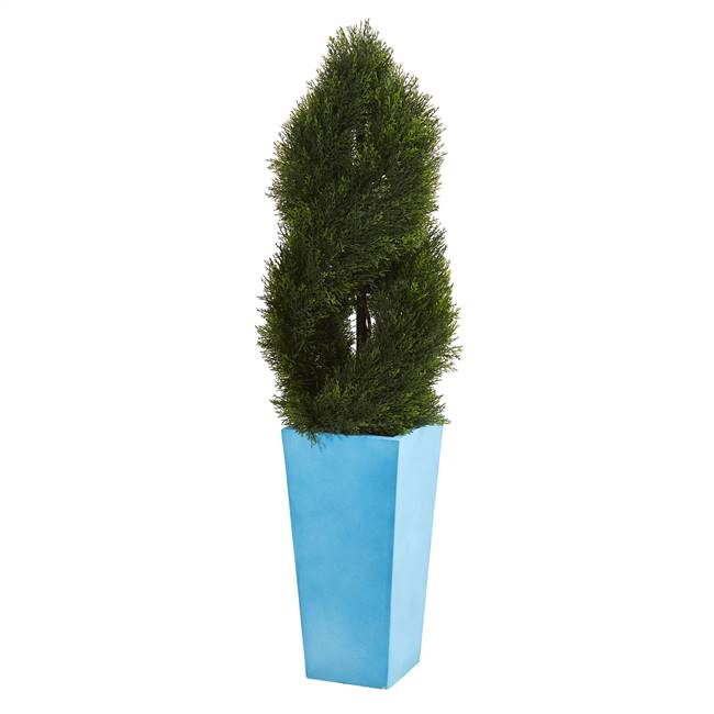 4.5' Double Pond Cypress Spiral Artificial Tree in Turquoise Planter UV Resistant (Indoor/Outdoor)