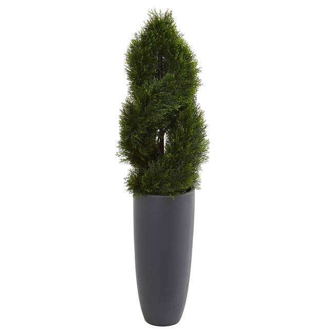 4.5' Double Pond Cypress Spiral Artificial Tree in Cylinder Planter UV Resistant (Indoor/Outdoor)