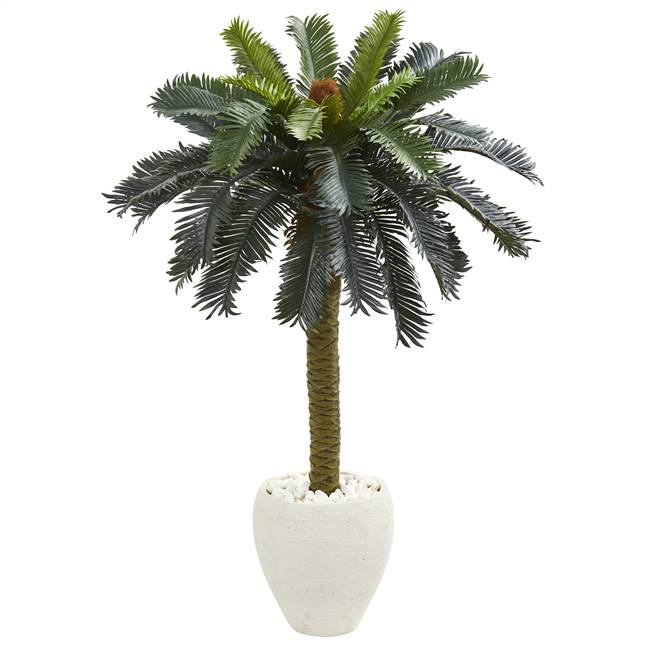 4' Sago Palm Artificial Tree in White Planter
