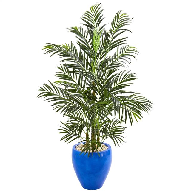 4.5' Areca Palm Artificial Tree in Glazed Blue Planter UV Resistant (Indoor/Outdoor)