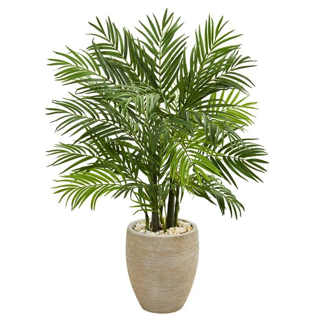 4' Areca Palm Artificial Tree in Sand Colored Planter