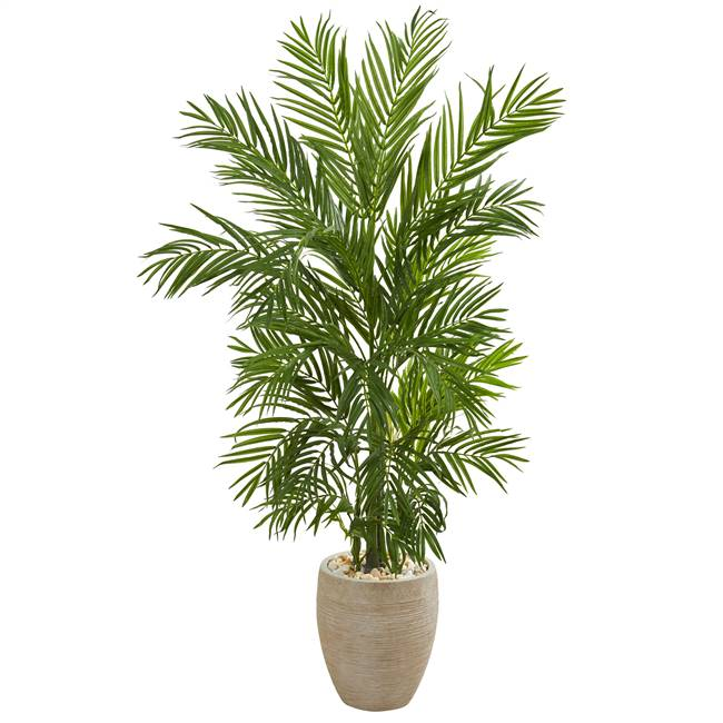 5' Areca Palm Artificial Tree in Sand Colored Planter