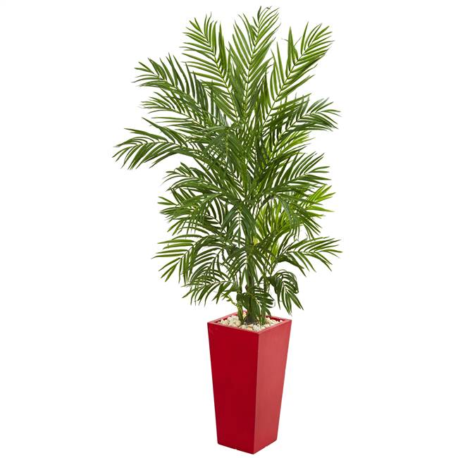 5.5' Areca Palm Artificial Tree in Red Planter