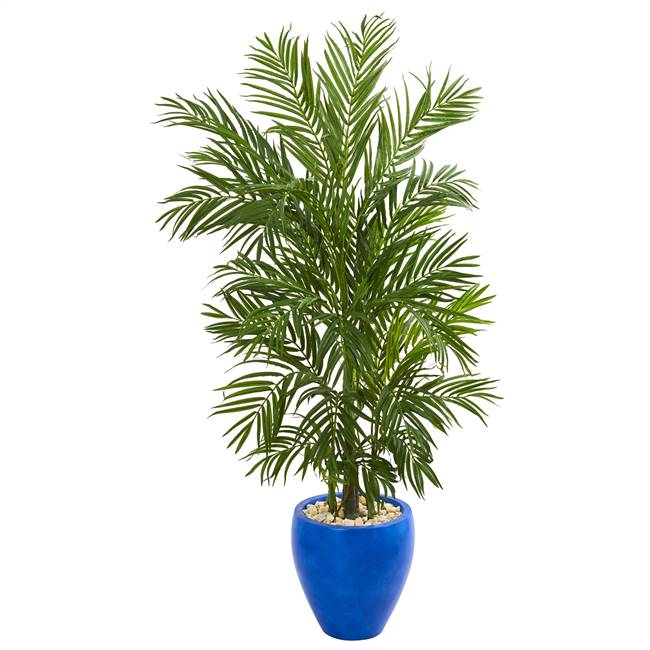 5.5' Areca Palm Artificial Tree in Blue Planter