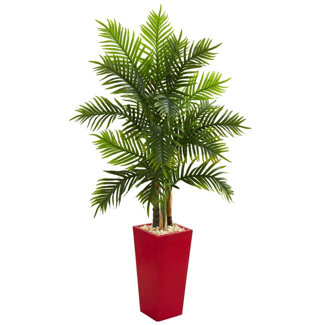 5.5' Areca Palm Artificial Tree in Red Planter (Real Touch)