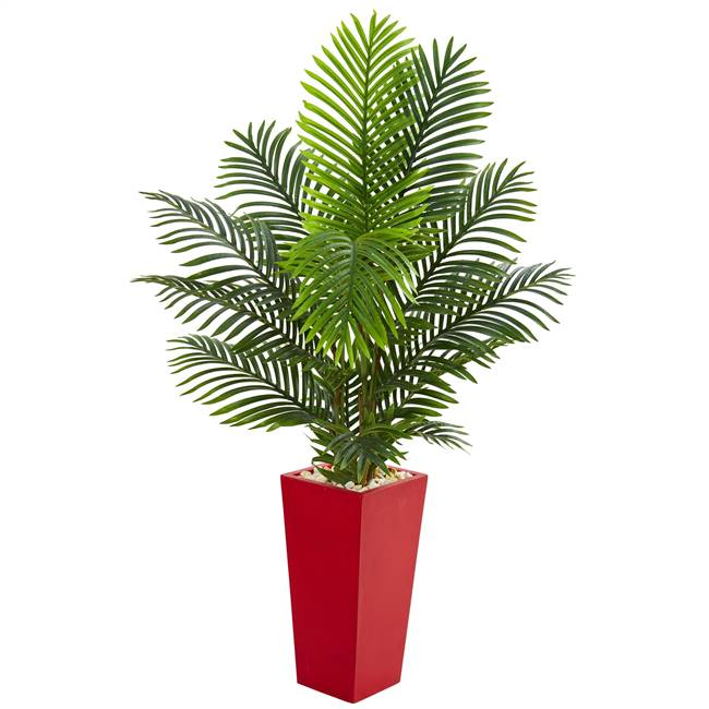 5' Paradise Palm Artificial Tree in Red Planter