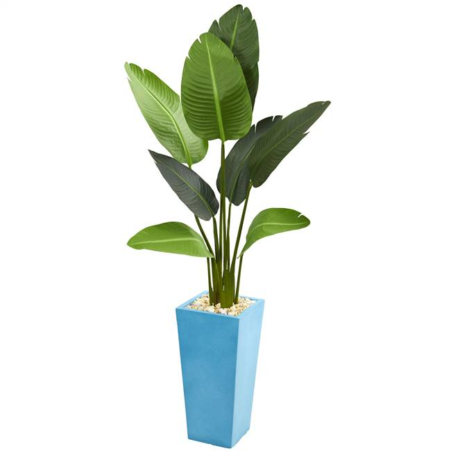 5' Travelers Artificial Palm Tree in Turquoise Planter