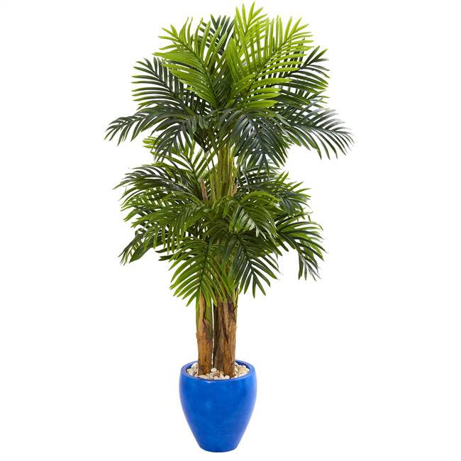5' Triple Areca Palm Artificial Tree in Glazed Blue Planter