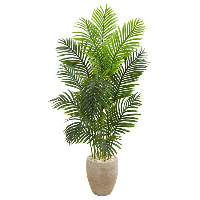 5' Paradise Palm Artificial Tree in Sand Colored Planter