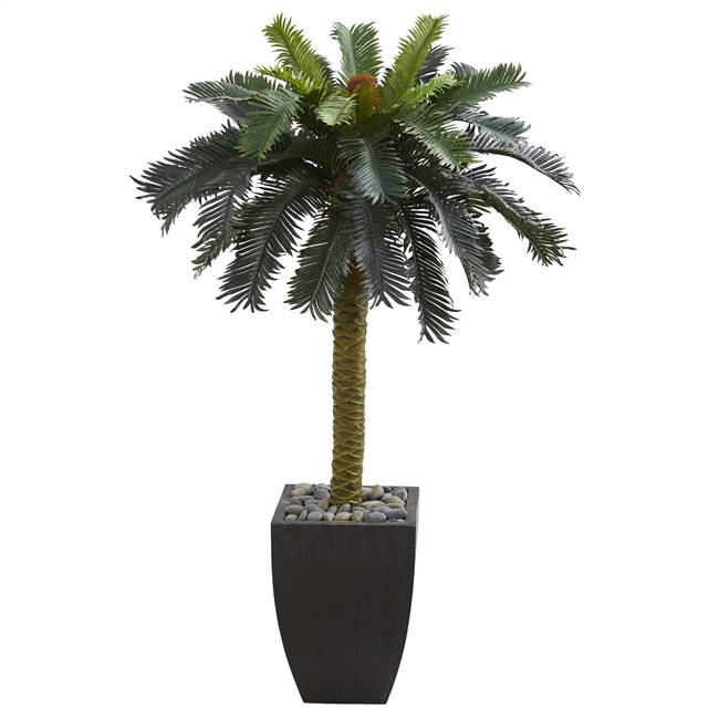 4.5' Sago Artificial Palm Tree in Black Planter